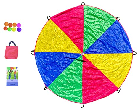 Parachute Toy Set - Parachute with 8 Handles, Play Balls, Book of 59 Games and Travel Bag - Great and Fun Party Games for Kids Cross Light Limited