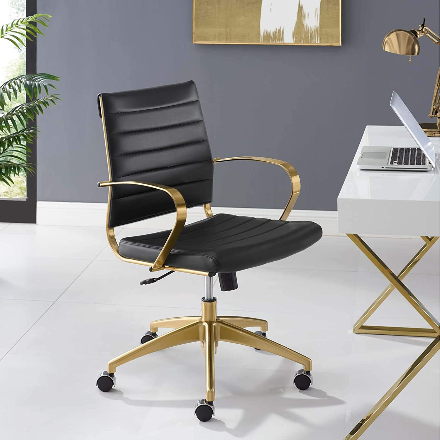 Modway Jive Gold Stainless Steel Executive Managerial Swivel Midback Office Chair