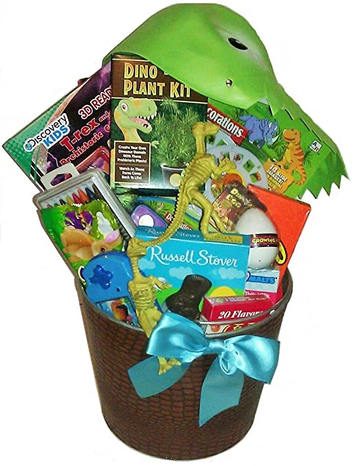 Dinosaur easter baskets easter wikii this easter basket is filled with dinosaur 3d fun and easter candy featuring 3d viewer dinosaur hat 3d activity book crayonpaint kit dinosaur figurine negle Image collections