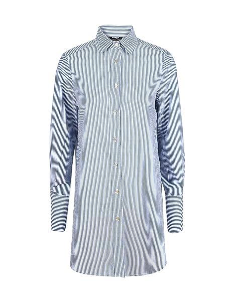 62de24a85182f HaoDuoYi Womens Stripe Boyfriend Button Down Longline Top Shirt(XL ...