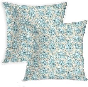 Eimeeho English Set of 2 Throw Pillow Cover English Garden Rose Romance Vintage Eggshell Cadet Blue White Cushion Pillowcase for Living Room Sofa Couch Decor Hidden Zipper 18x18 Inch