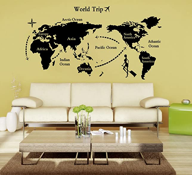 Buy decals design world map wall sticker pvc vinyl 90 cm x 60 buy decals design world map wall sticker pvc vinyl 90 cm x 60 cm black online at low prices in india amazon gumiabroncs Image collections