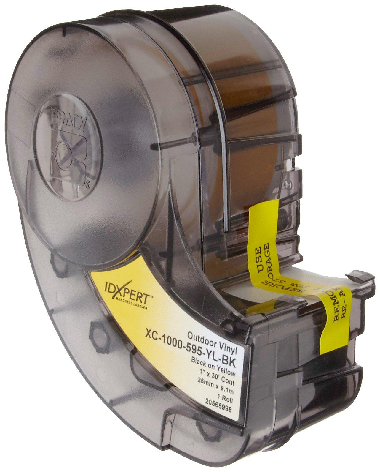 Brady XC-1000-595-YL-BK IDXPERT(TM) & LABXPERT(TM) Labels  B- 595 Indoor/Outdoor Vinyl Film Black on Yellow, Printable Area: 19.000'' W x 1.000'' H 1 roll (30ft.)/Cartridge