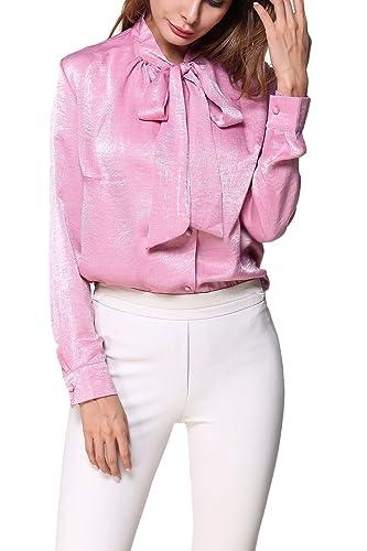 La Mujer Elegante Blusa Camisa Suelta Monocolor Pussy Bow