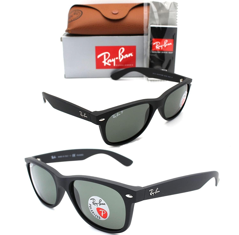 045eca35c4 Amazon.com  RAY-BAN RB 2132 622 58 55mm NEW Wayfarer Matte Rubber Black  with Green Polarized  Clothing
