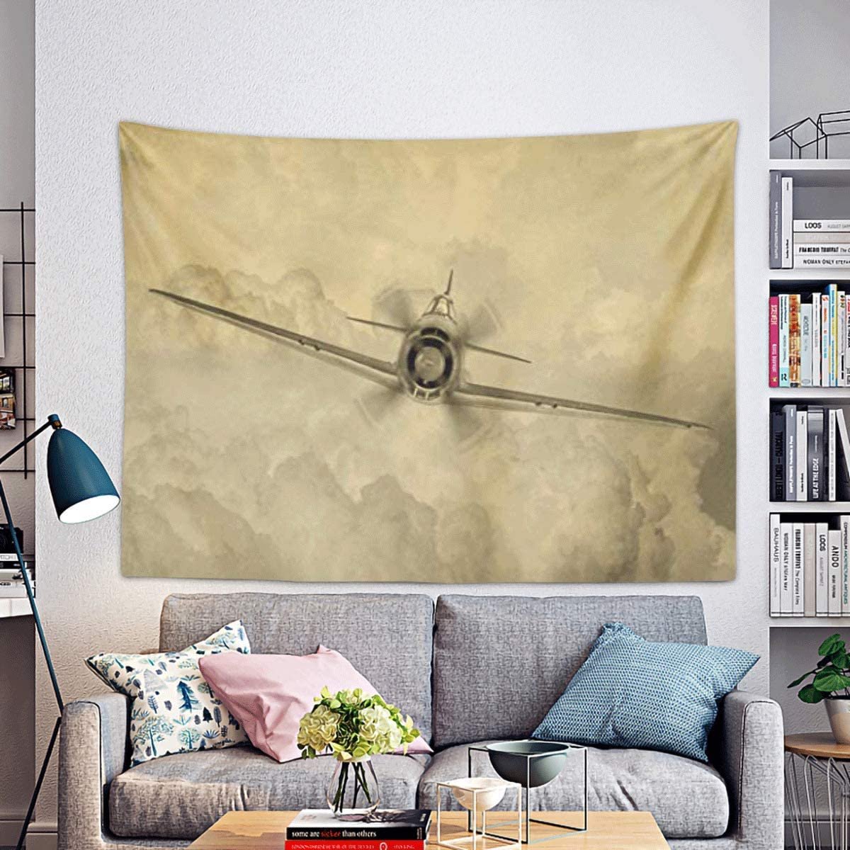 Remain Unique Tapestry Ww2 Vintage of World War Era Fighter Plane Known As George by The Allies Bomber Wall Hang Decor Indoor House Made in Soft