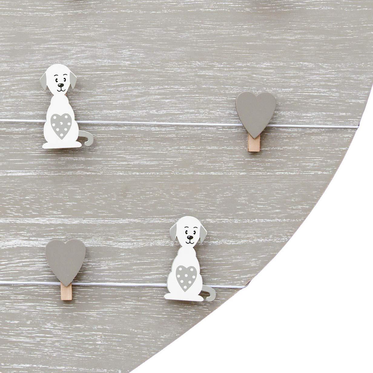 Tablero de notas, tablero de mensajes, marco de fotos de madera 39x39cm forma de corazón panel de pared para colgar con clips corazones y perros, ...