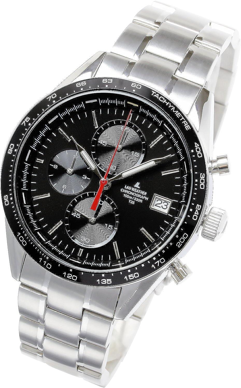 [ラドウェザー]腕時計 スイス製トリチウム レーシングクロノグラフ 100m防水 多針アナログ 夜光インデックス タキメーター 時計 メンズウォッチ B0772FWDJJ