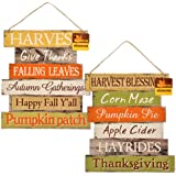 """Thanksgiving Decorations For Your Home - Set of 2 Wooden Harvest Signs 10.5"""" x 11.5"""" ea."""