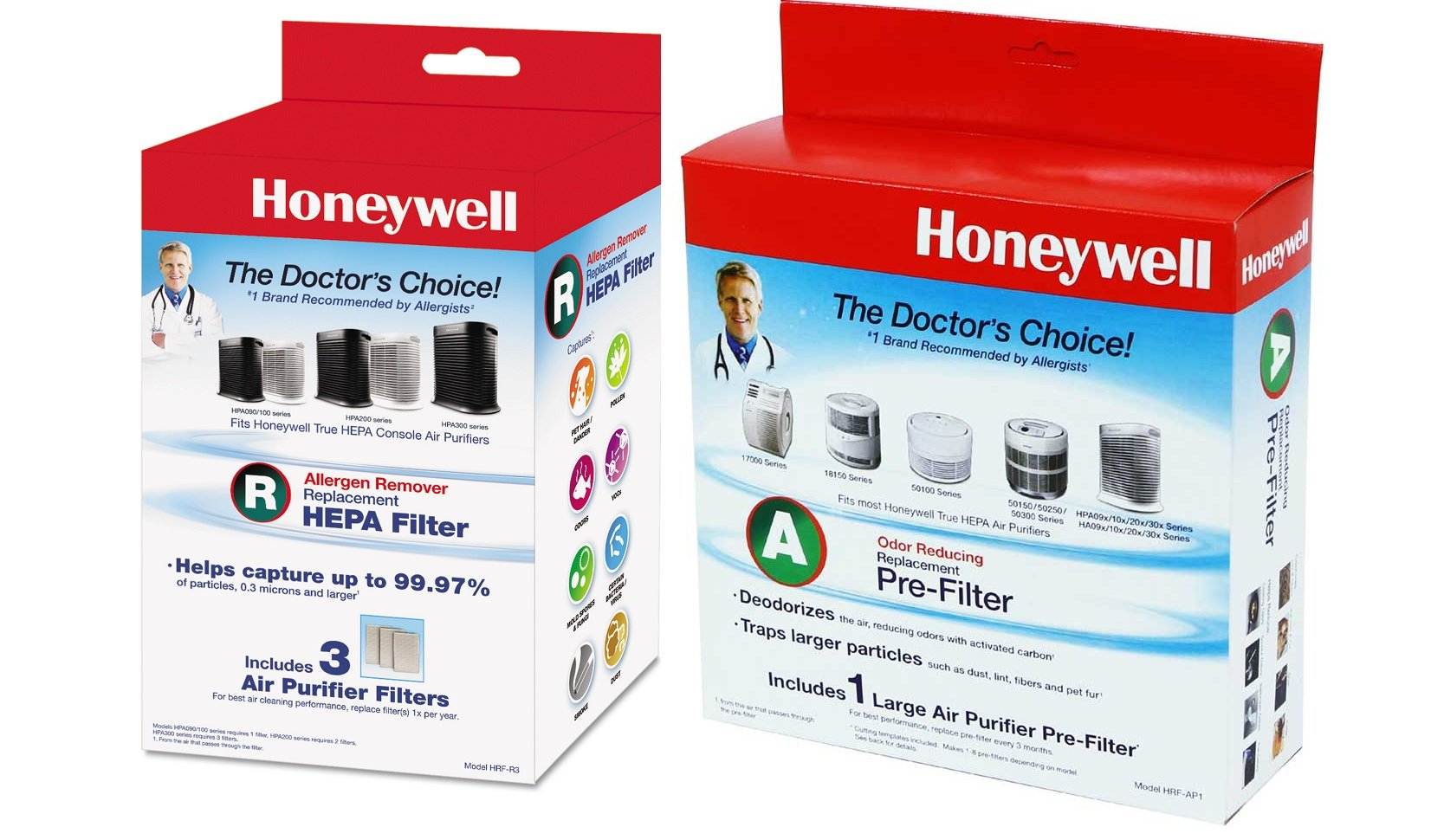 Honeywell HRF-AP1 Filter A Universal Carbon Pre-filter and HRF-R3 Bundle - Made for Honeywell HPA300 Machines