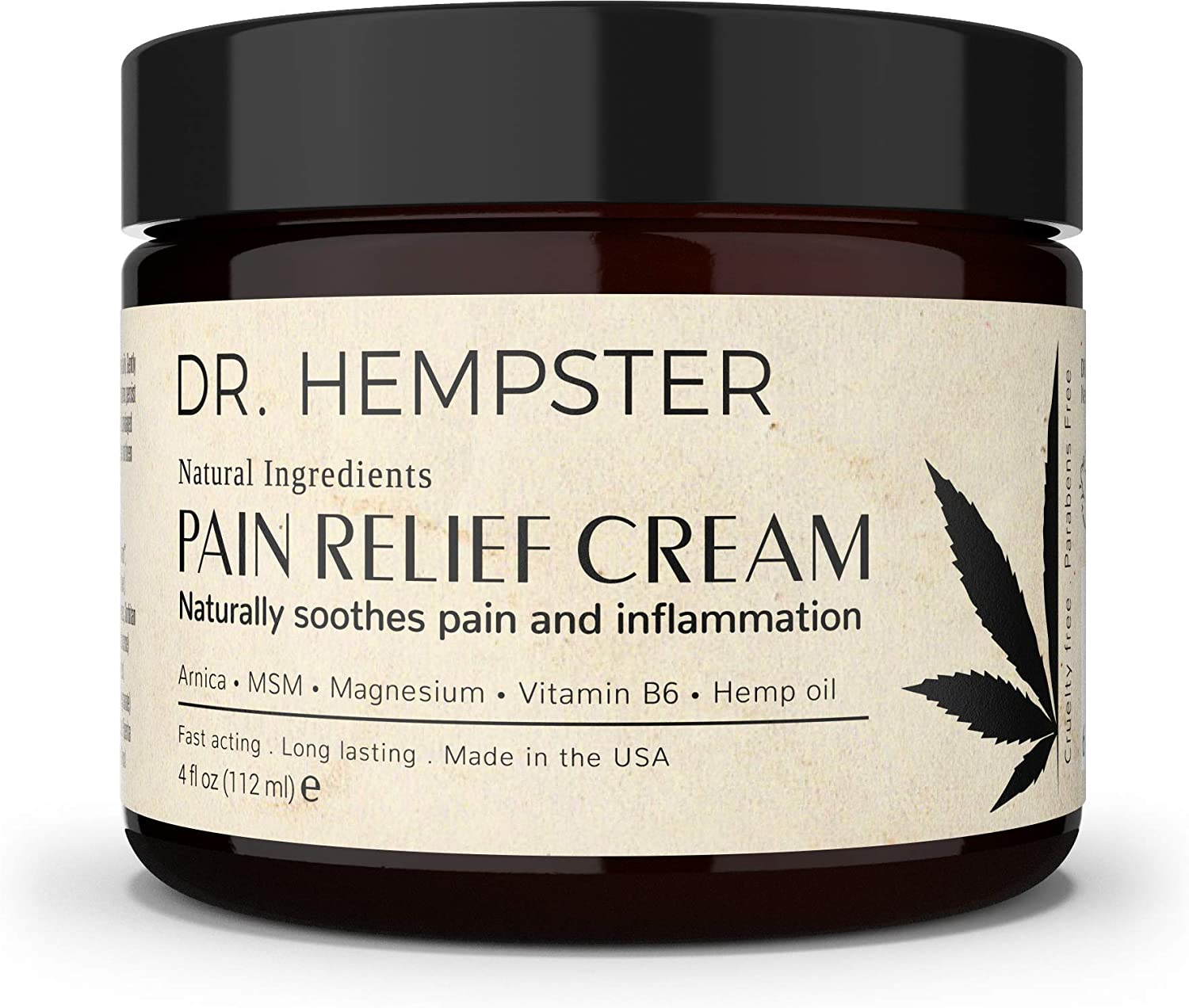 Hemp Oil Pain Relief Cream - 100% Natural Ingredients and Cruelty-Free, No Emu Fats Used - Rapid Absorption, and Non-Greasy Rub - Ideal for Back and Joint Pain Relief - USA Made