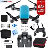 DJI SPARK Fly More Drone Comboe (Sky Blue) Essentials Bundle With Three Batteries, 16GB Flash Drive, Custom Hard Case, Cleaning Cloth And One Year Warranty Extension