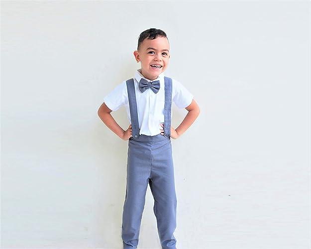 8688ed8ad7b Amazon.com  Boy Suspender Pants - Dark grey