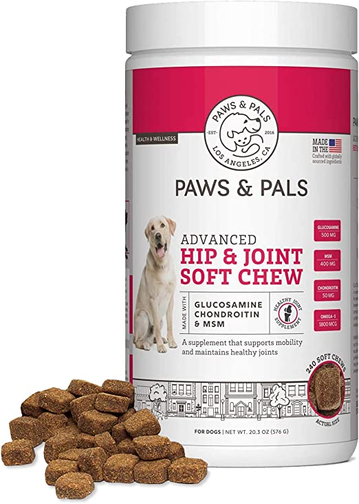 Paws & Pals Max Strength Glucosamine for Dogs Hip and Joint Supplement - with Chondroitin Plus MSM - for All Dog Sizes - 240 Count Soft Chews - Health Support Arthritis Pain Relief