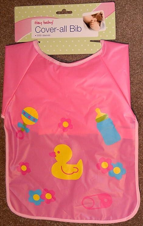 Manga larga limpiar infantil/de bebé babero Delantal ideal para niños manualidades y pintura rosa