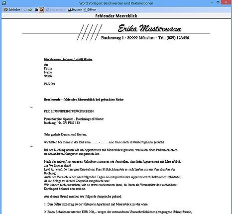 Word Musterbriefe Beschwerden Reklamationen Amazonde Software