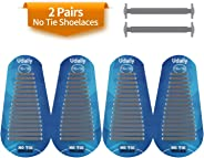 Udaily 2 Pairs No Tie Shoelaces for Kids and Adults, Elastic Silicone Shoe Laces for Sneaker