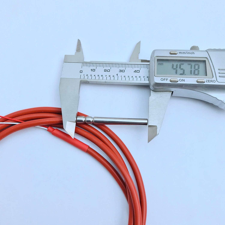 Vaorwne Sensor de Temperatura PT1000 de 2 Hilos Termistor Recubierto de Gel de Silicona Sonda de 1,5 Metros 45 Mm X 5 Mm 50-180 Cent/íGrados RTD