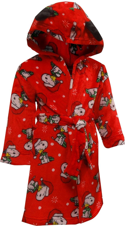 Komar Kids Boys' Peanuts Snoopy Christmas Holiday Plush Hooded Robe K183372PE2T
