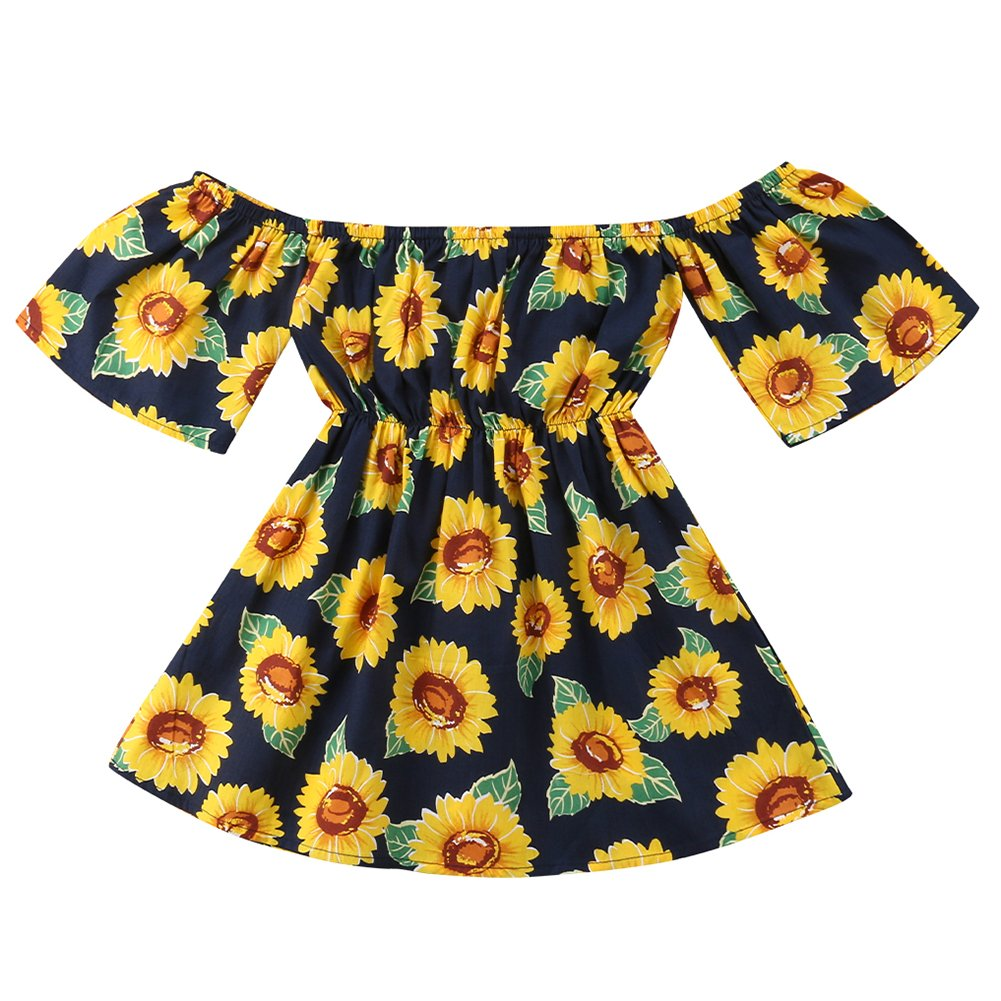 731b0d4dac Amazon.com: Emmababy Toddler Baby Girl Sunflower Print Party Pageant Dress  Off Shoudler Sundress Tube Top Long Maxi Skirt Clothes: Clothing