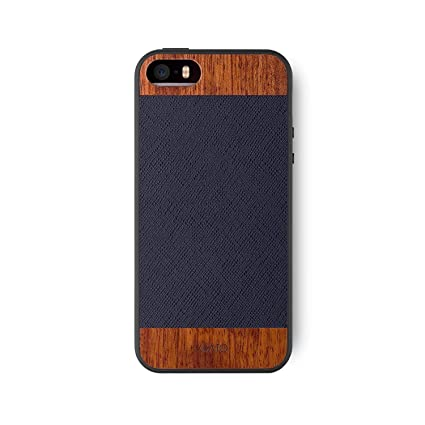 I Ato I Phone Se / 5s / 5 Wood Case: Goodwood Genuine Leather & Real Wooden Premium Protective Snap On Cover. Unique Stylish Classy Black Saffiano Leather & Rose Wood Accessory For I Phone Se / 5s / 5 by I Ato