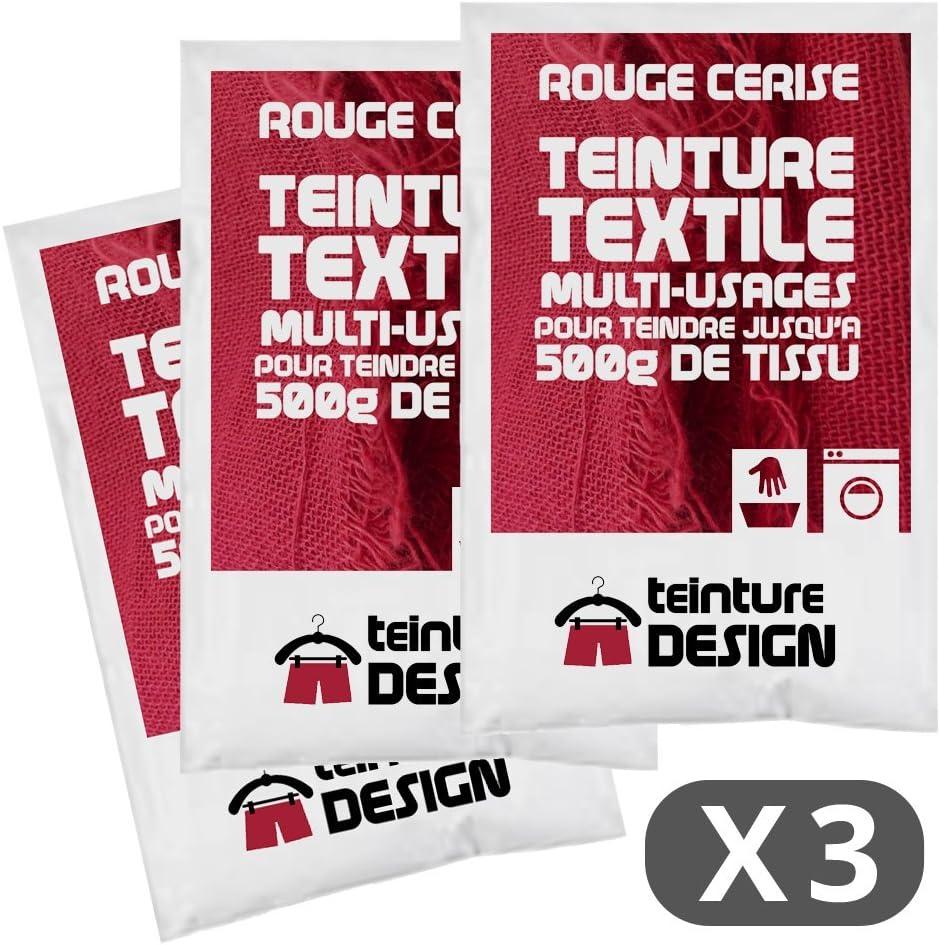 Teinture Design - Juego de 3 bolsas de tinte textil, color rojo cereza, tinte universal para ropa y telas naturales