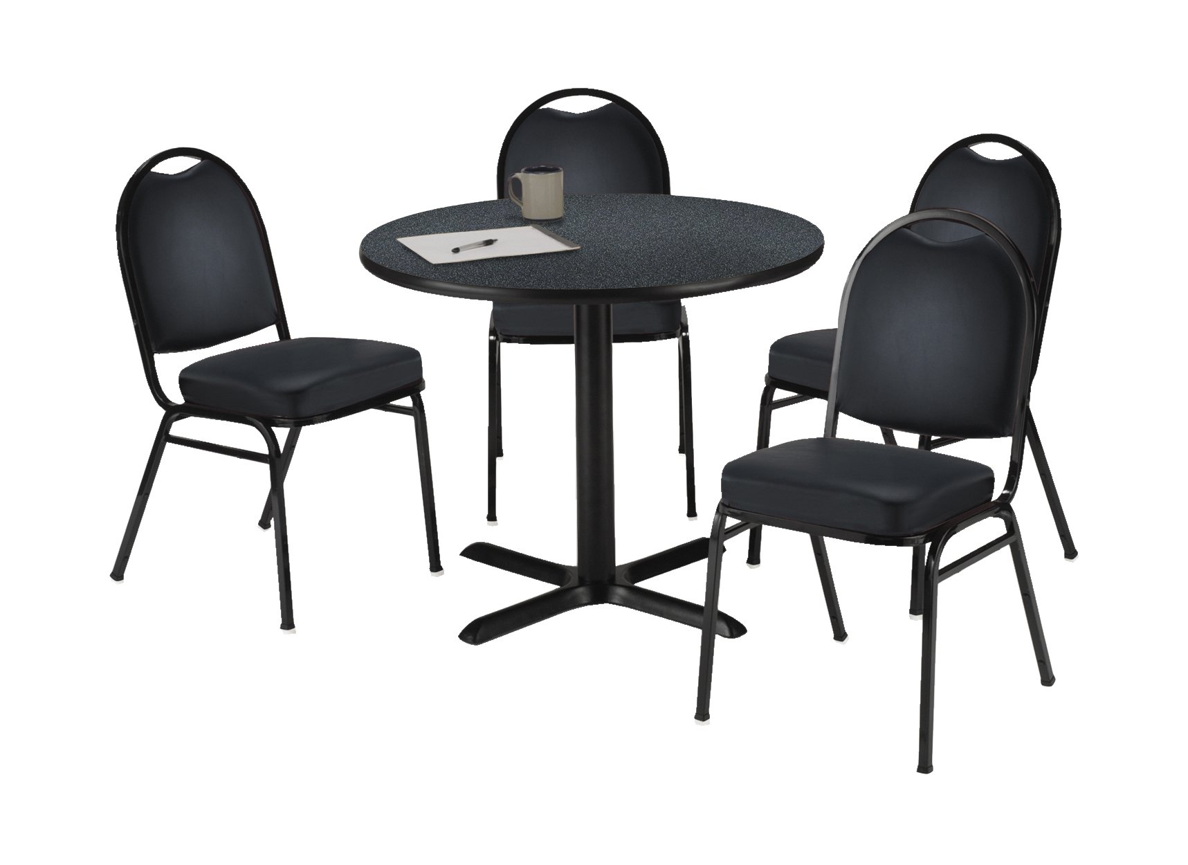 KFI Seating Round Laminate Top Pedestal Table with 4 Black Vinyl Armless Stack Chairs, 42'' Diameter, Graphite Nebula