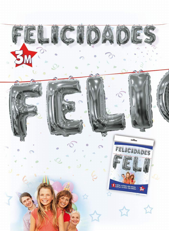 CARTEL FELICIDADES GLOBOS FOIL: Amazon.es: Juguetes y juegos