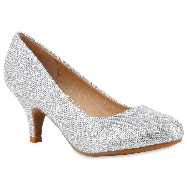 Stiefelparadies Damen Klassische Pumps Flandell Silber Silber 2018 Letztes Modell  Mode Schuhe Billig Online-Verkauf
