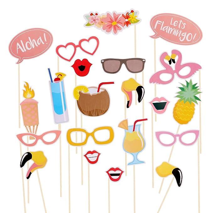 Tinksky Fiesta Luau Hawai temática verano partido foto stand accesorios Kit  DIY flamenco para boda playa fiesta bdb55c14bd3