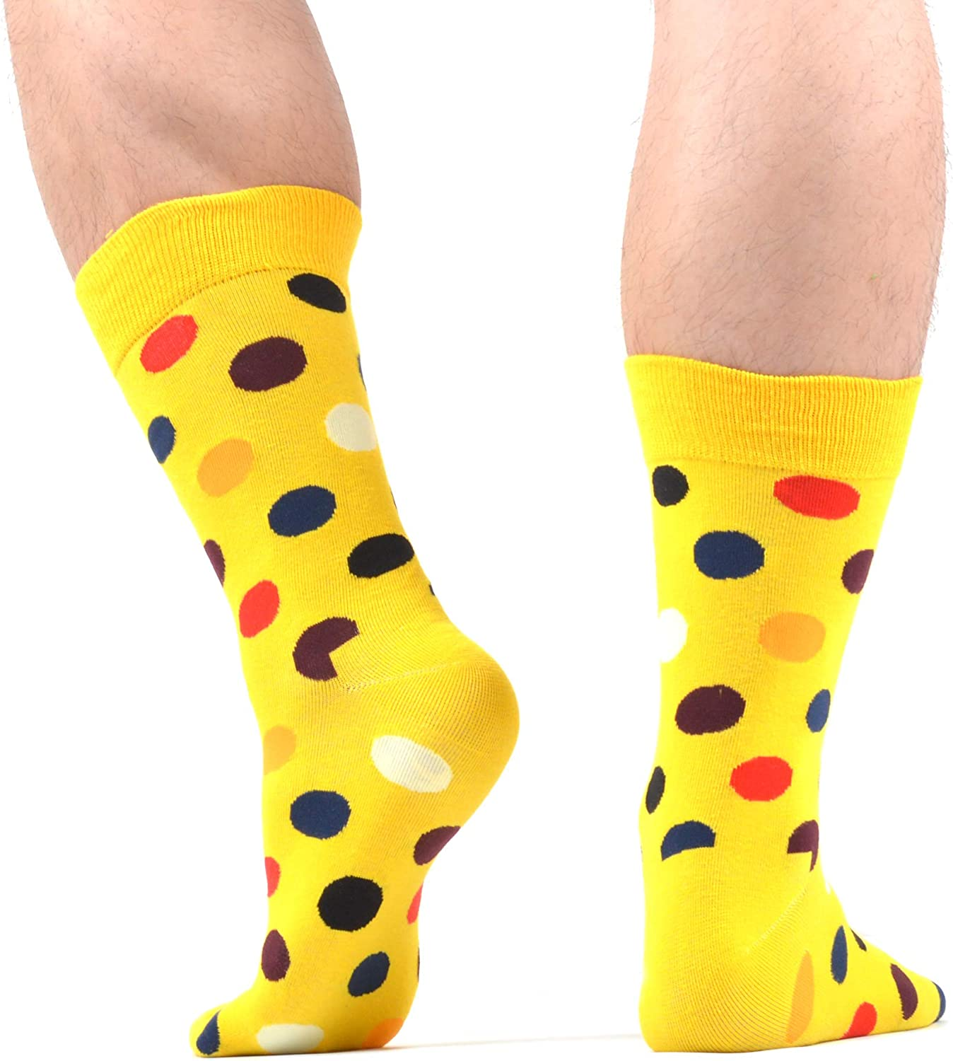 WeciBor Mens Funny Crazy Novelty Colorful Patterned Combed Cotton Dress Crew Socks