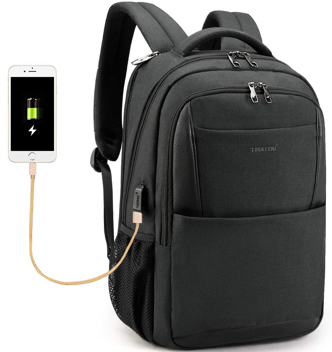 f6882ae1e365 TIGERNU Anti Theft Laptop Backpack with USB Charging Port Computer Men  Backpack Bag Fit Laptops up to 15.6 Unisex Waterproof Oxford (Black)   Amazon.ca  ...