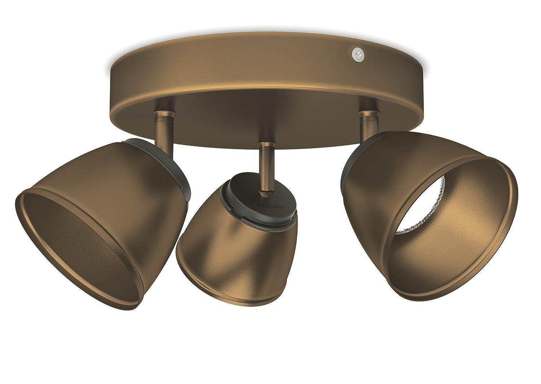 color bronce 4 luces Barra de focos 4 W luz blanca c/álida metal iluminaci/ón interior Philips myLiving County