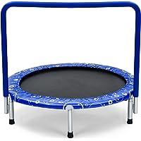 COSTWAY 92 cm Kinderen trampoline, mini trampoline met veiligheid gewatteerde hoes en volledig overdekte handgreep…