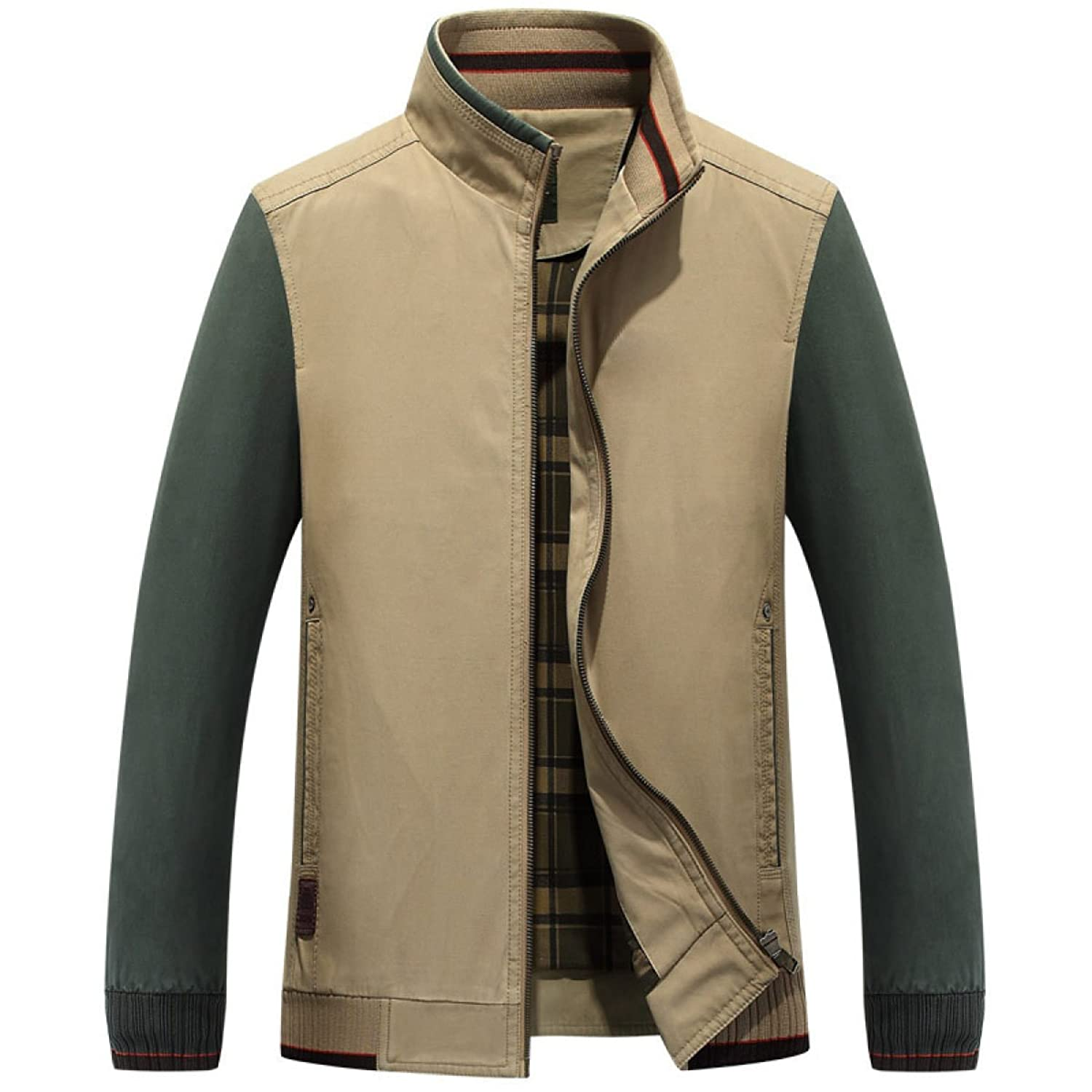 Shallow Spring Men's Short Paragraph Cotton Color Collar Stand-sized Jacket Jacket Size