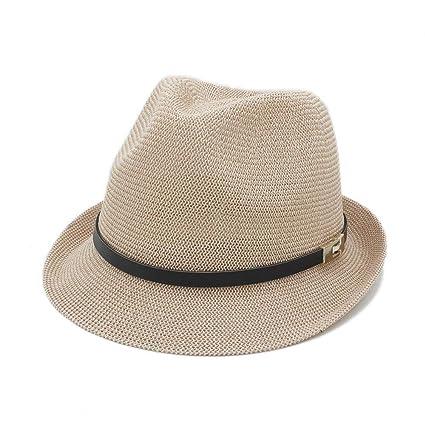 a3912ff21d9ffa Amazon.com: Kinue Summer Women Men Sun Hat for Gentleman Letter Dad Boater  Fedora Hats Dad Flat Homburg Beach Hat Panama Cap Very Soft: Home & Kitchen
