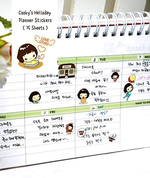 DIY Decorations Journaling Art Supplies 15 Sheets Helloday Girl Korea Sticker Small for Diary Planner Stationary Bullet Journal Writing Book Postcard Scrapbook Laptop EKOI Cute Korean Stickers