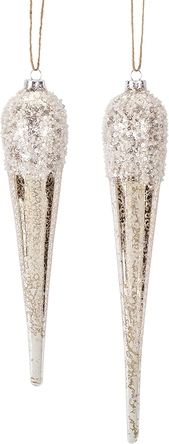 Melrose International Drop Icicle Gold Tone 12 inch Glass Christmas Figurine Ornaments Set of 2
