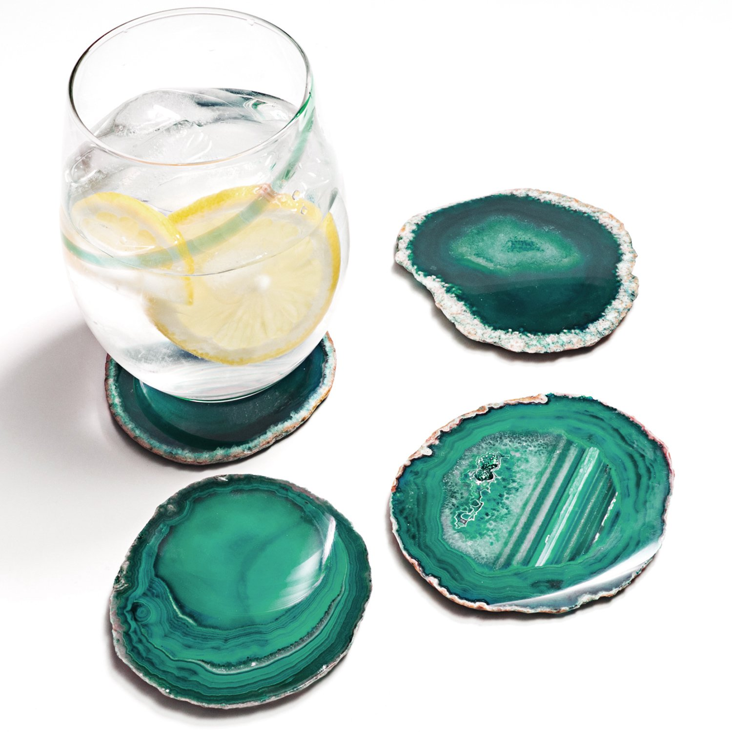Amethya Natural Sliced Agate Coaster, Cup Mat for Drinks with Rubber Bumper, Set of 4 (Teal) by Amethya