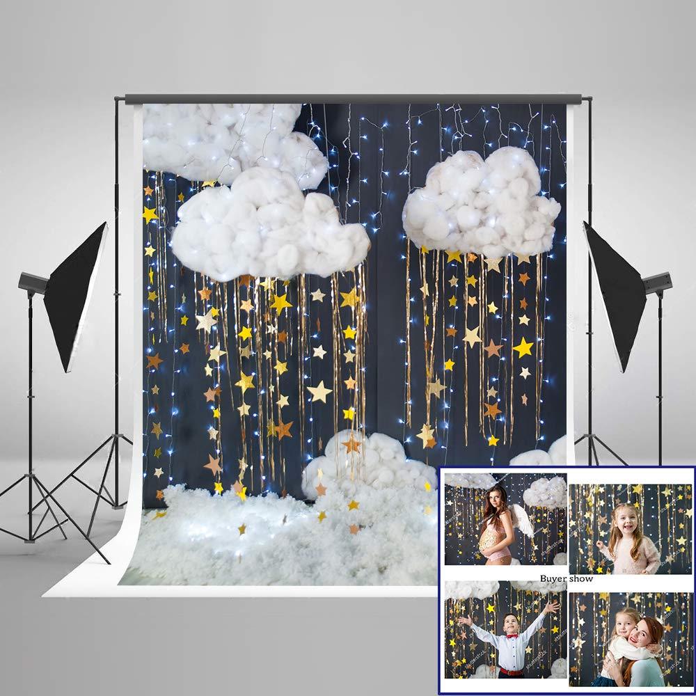 ケイトマイクロファイバー ベビーショー 写真撮影用背景 5x7フィート (150x220cm) ホワイト 雲 ゴールド 星 妊婦 写真ブース 小道具 背景 誕生日 写真 スタジオ 背景幕 パーティー用   B07L88YZ18