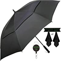 Large Golf Umbrella by DNR Australia, Double Canopy Windproof Design, 61 Inch Strong Vented Automatic Travel Umbrella, Perfect for Sun or Heavy Rain - Bonus Microfibre Towels & Retractable Keychain