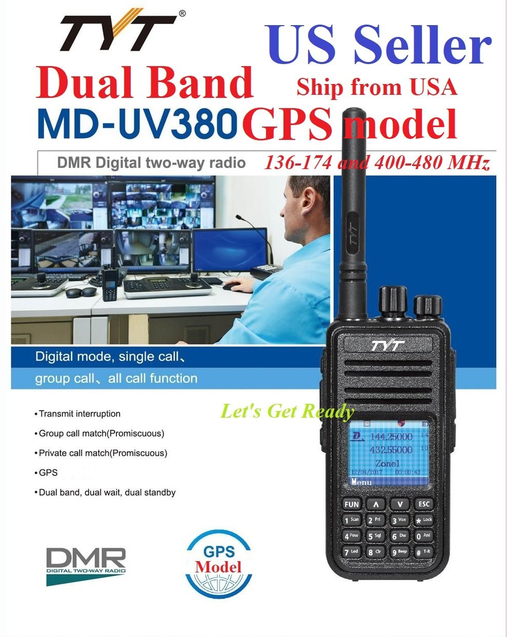 Amazon.com: TYT MD-UV380 GPS Version Dual Band 136-174 & 400-480 MHz DMR  Digital/Analog Radio: Car Electronics