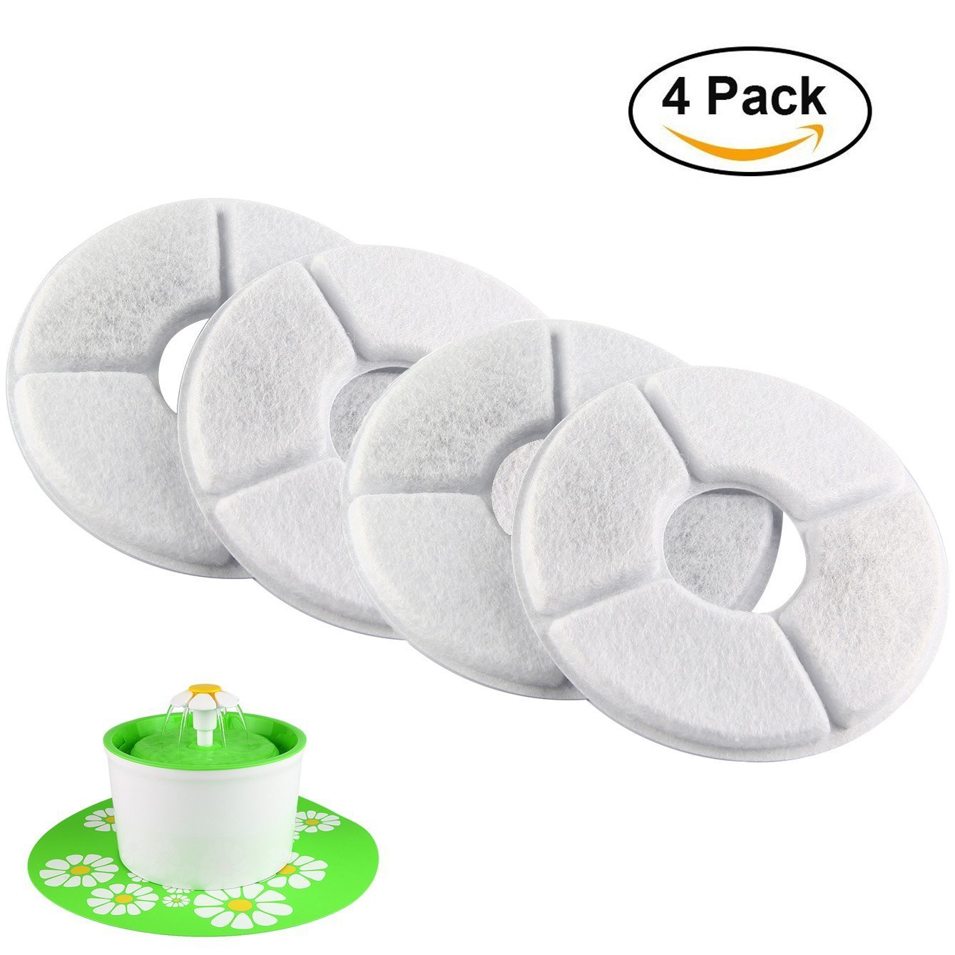 Pack of 4 Grey JIAN YA NA Replacement Softening Water Fountain Filters,Premium Cotton Activated Carbon Pet Water Filter