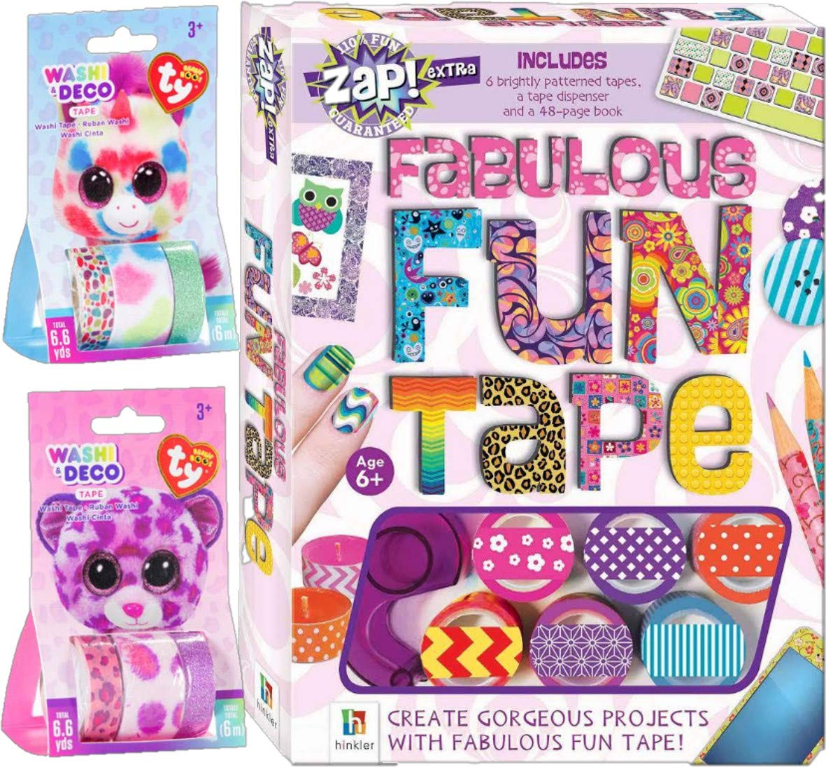 GBBD Fabulous Fun Tape Craft Kit with Project Book and Patterns Glittered and Fur Washi