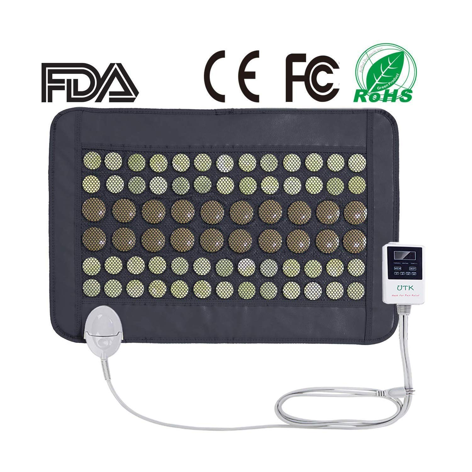 """UTK® Far Infrared Natural Jade and Tourmaline Heating Pad Mats for Pain Relief Small Pro (23.5""""X16"""") with Smart Controller Memory Function Auto Shut Off Timing Setting [US FDA] Travel Bag Included"""