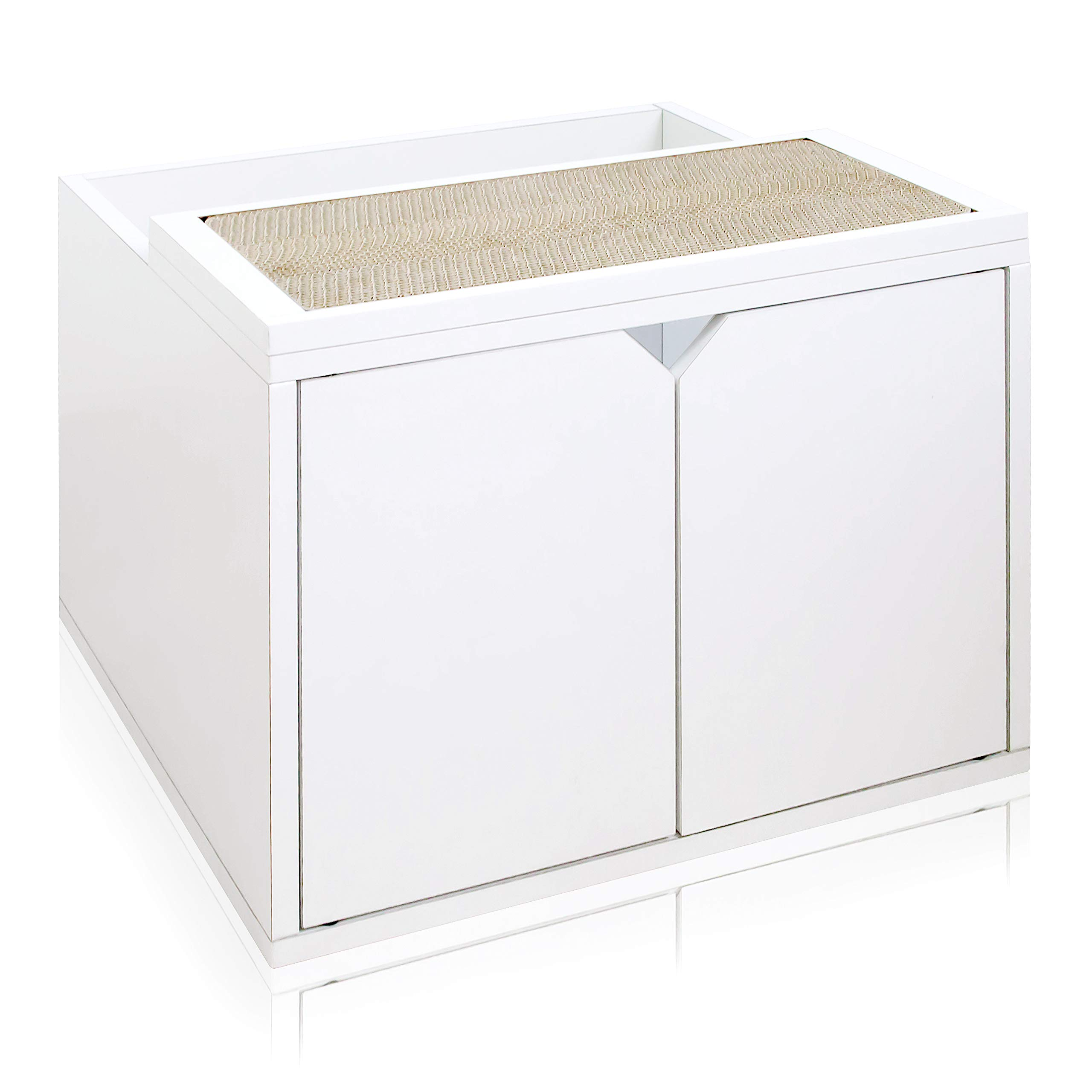 Way Basics Eco Friendly Modern Cat Litter Box Enclosure with Doors, White (Tool-Free Assembly & Uniquely Crafted from Sustainable Non Toxic Zboard Paperboard) by Way Basics