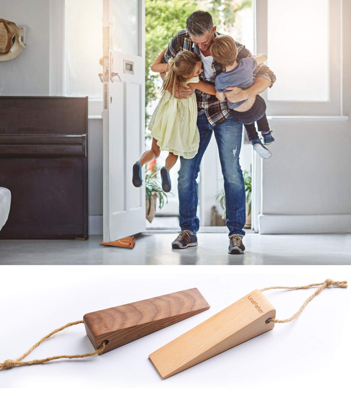 Non-Slip Door Stops with Premium Heavy Duty Security Large Soild Wood Door Stopper 1 Piece, Sapele