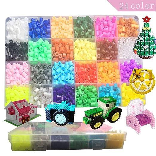 Lote de 2400 pcs Abalorios Perler,de los Granos DIY de Perler Caja de fusibles Conjunto de Perlas de 5 mm Hama Beads, 24 Color: Amazon.es: Hogar