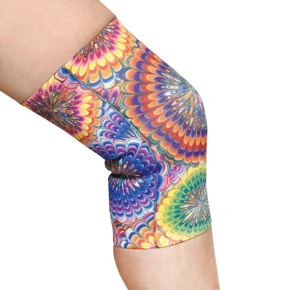 Women's Mild Support Compression Knee Brace in Fun Print - Queen - Tie Dye