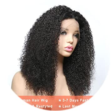 Lace Wigs Lace Front Human Hair Wigs For Black Women Brazilian Remy Hair Afro Kinky Curly Lace Wigs With Baby Hair Bleached Knots Hair Human Hair Lace Wigs